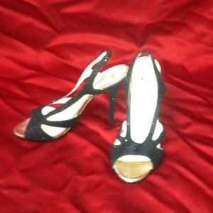 Black Sparkle Strappy Heels (Size 5.5)